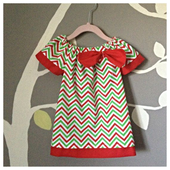 Girls peasant dress, Christmas dress, Xmas dress, chevron dress, baby girl toddler on Etsy, $25.00