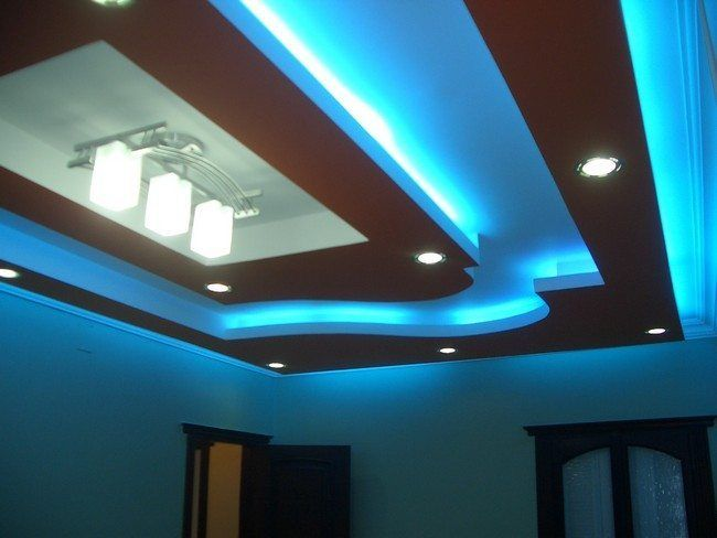 square wooden ceiling with blue led lights