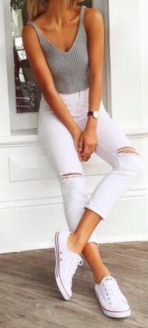 #summer #fashion / white + gray