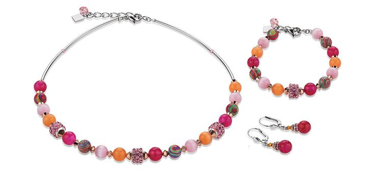 Swarovski Agate Orange Pink Necklace, Bracelet and Earrings 4816_0402 – Coeur de Lion jewellery