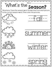 Preschool Season Worksheet for May