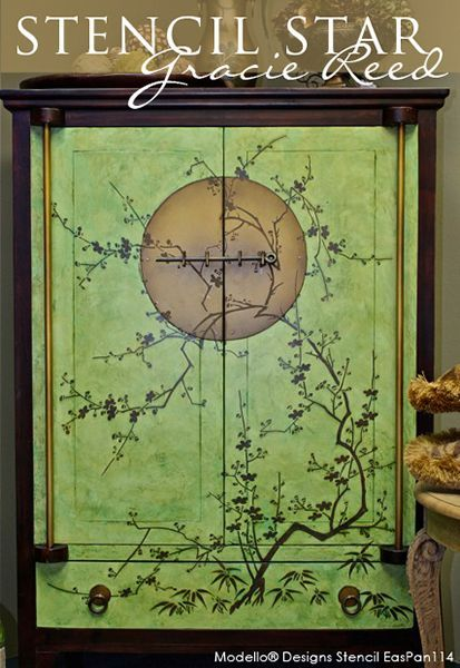 One of our Modello® Designs Exotic East Stencil Panels on a Japanese Cabinet | Project by Gracie Reed