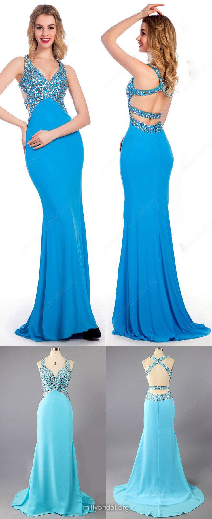 Blue Prom Dresses,Long Prom Dresses,Backless Prom Dresses Trumpet/Mermaid, Sweetheart Prom Dresses Chiffon, Crystal Detailing Prom Dresses Modest #eveninggowns