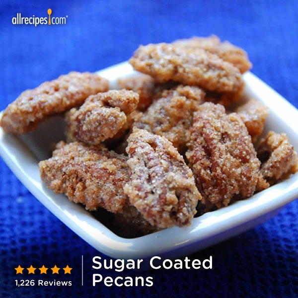 """Great recipe for holiday snacking. Put the egg mixture in one bag and the sugar mixture in another. Coat pecans in egg, then sugar."" —carebear 