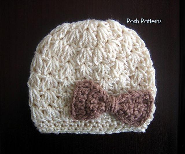 Ravelry: Cluster V-Stitch Crochet Hat Pattern 310 by Posh Patterns