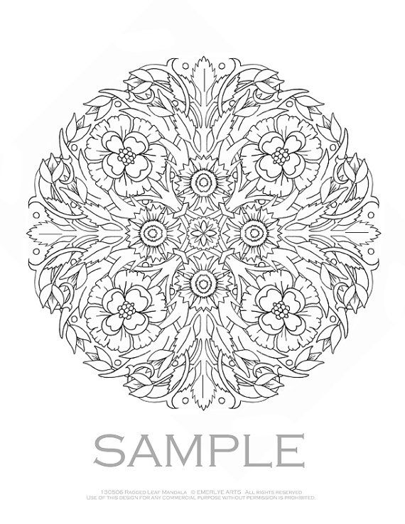Garden Flowers Coloring BOOK For Adults Mandalas By Emerlyearts