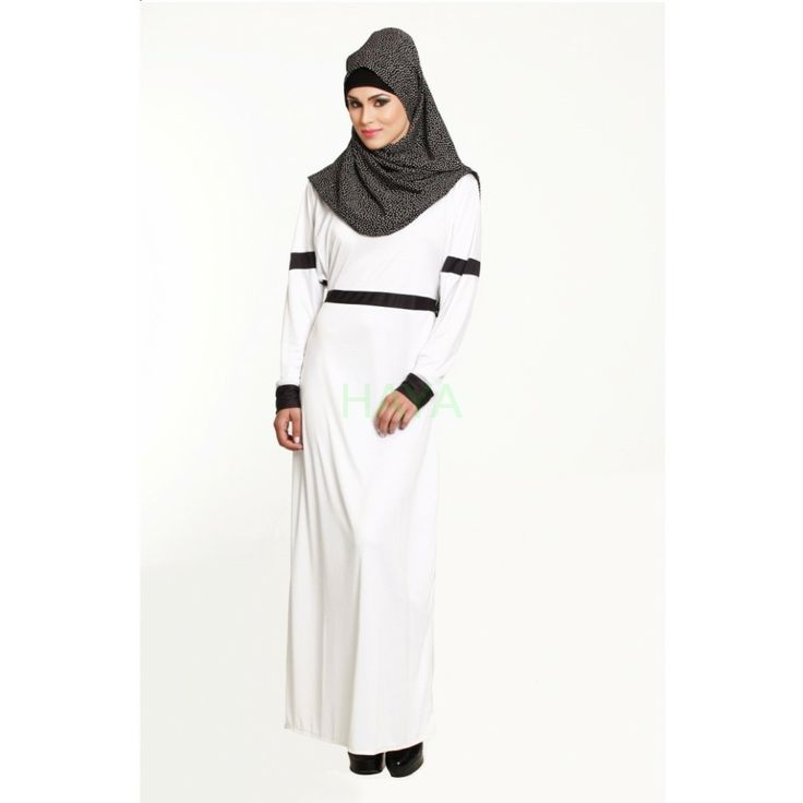 Modest Muslim sportswear with contrasting black trims on waist and sleeves, making for a perfect fit and fabric fall. Available for $25 @ http://www.hayaislamicclothing.com/Women/Islamic-Sportswear/abaya-205-jbm
