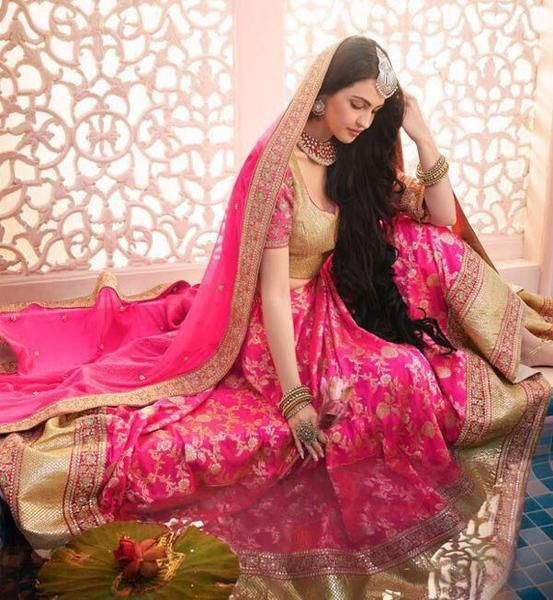 Rani Pink Brocade Bridal Lehenga Choli Shopping