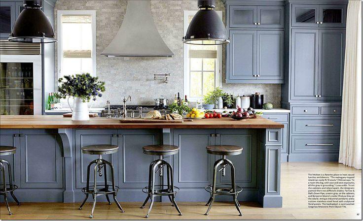 cuisine moderne rustique en bleu