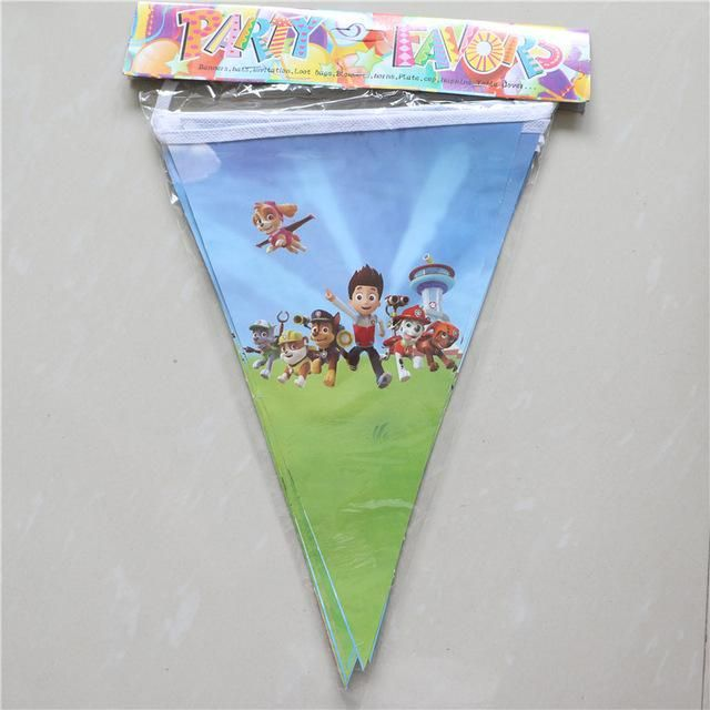 [Visit to Buy] Kids Birthday Party Supplies puppy patrol Party Pennant Bunting Birthday Flag Banners Boys Event Party Supplies 10Flags/Pack #Advertisement