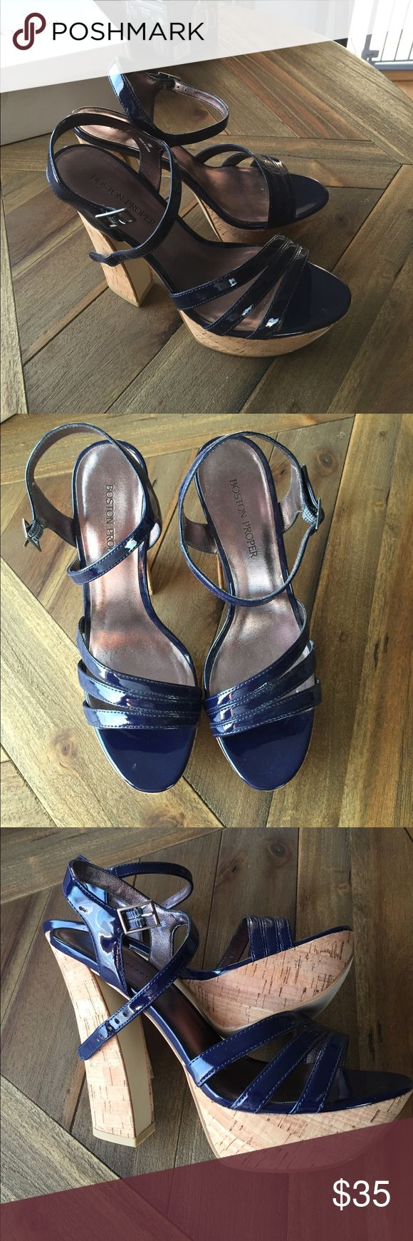 Navy blue patent high heel sandals Shiny navy patent strappy sandals with cork heel. Worn once Boston Proper Shoes Sandals