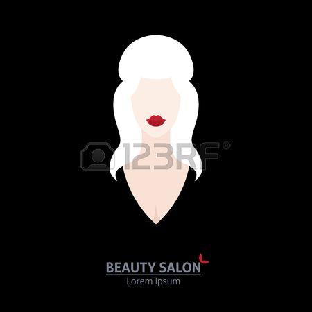 Illustrazione del modello di banner o biglietto da visita stilizzato dai capelli lunghi donna nel profilo per salone di bellezza