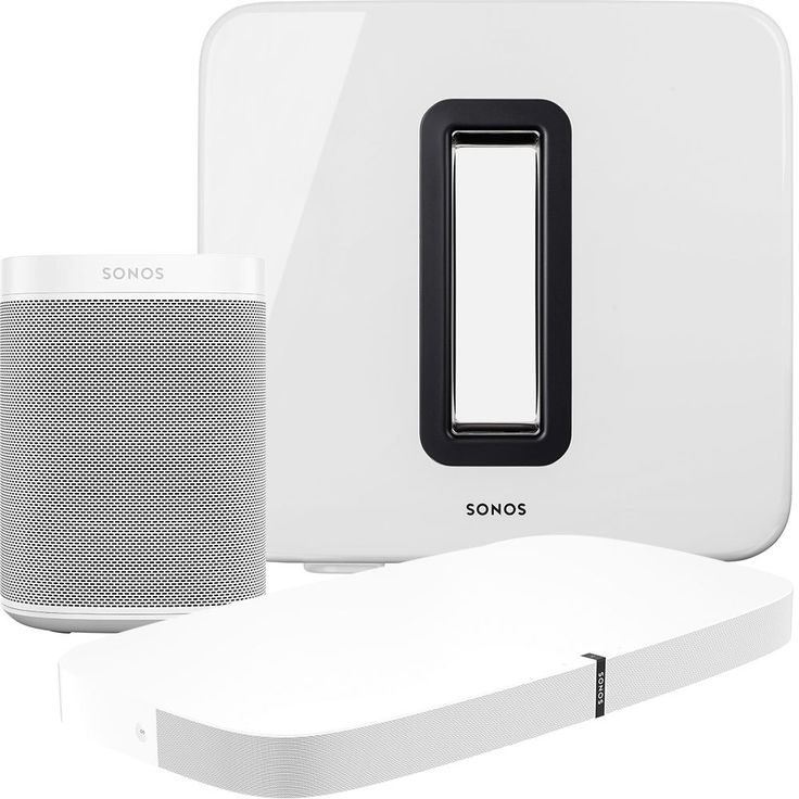 Sonos - 5.1-Channel Wireless Home Theater System with Sonos One Speaker Pair, Playbase and SUB - White