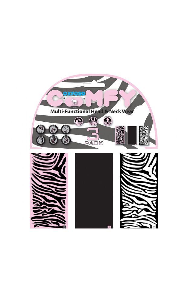 Oxford Comfy 3 Pack of Zebra Buff's - LadyBiker.co.uk
