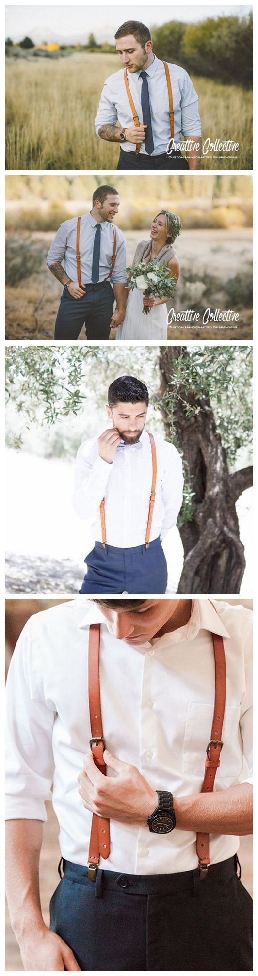 GENUINE LEATHER SUSPENDERS GROOMSMAN WEDDING SUSPENDERS LEATHER GOODS FOR MEN