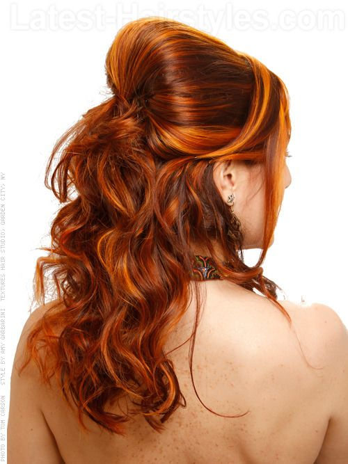 Bright Copper Hair Color with Yellow and Orange Highlights Back View