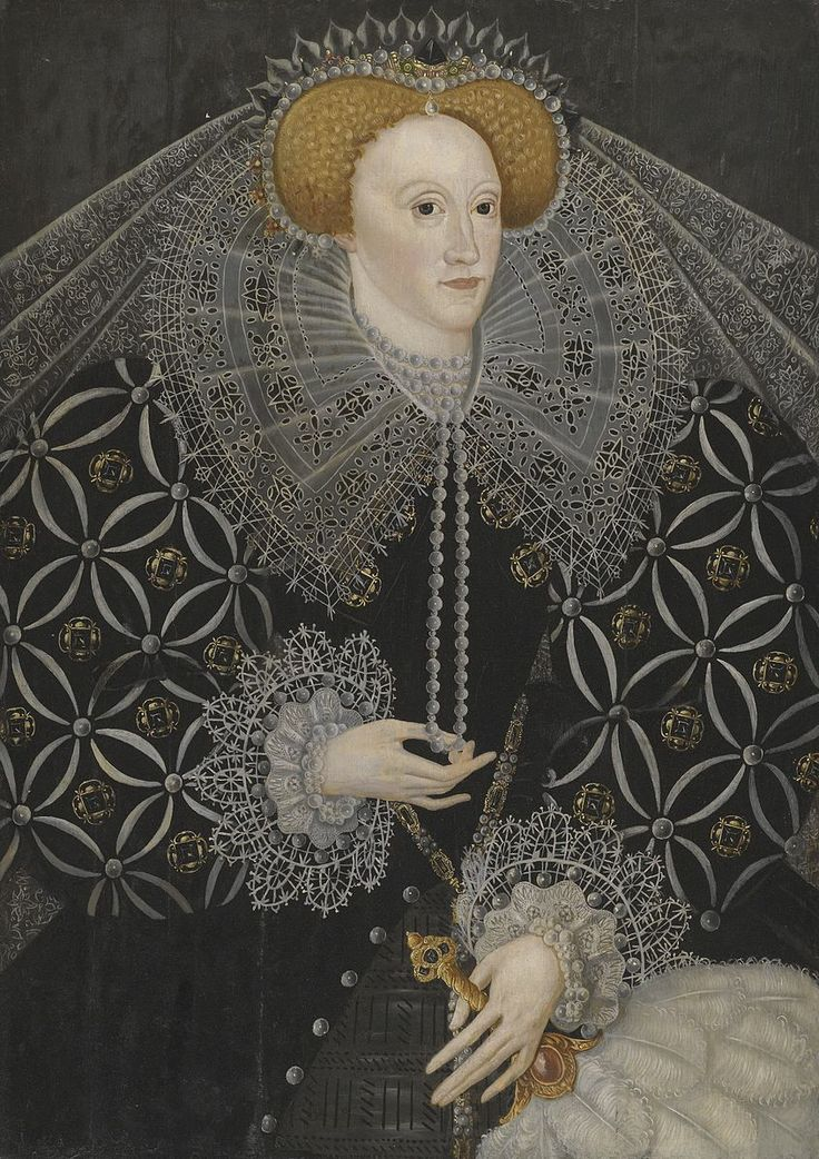 Portrait Elizabeth I c. 1595 oil on panel Dimensions 89 x 63 cm Trustees of Ampleforth Abbey: sold Sothebys sale L11033, 6 July 2011
