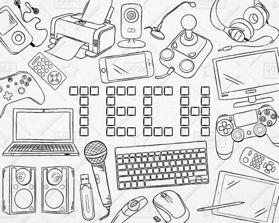 Doodle Technology Vector Pack, Tech Clipart, Electronics Clipart, Electronic Gadget Clipart, Compute