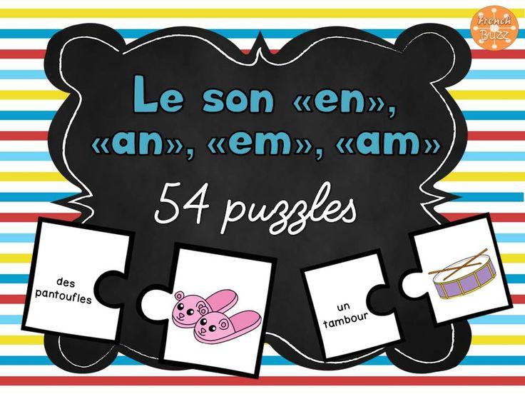 """Le son """"en, em, an, am"""" - 54 puzzles. Jeu de casse-tête sur les mots avec le son """"en, em, an, am"""". Idéal pour les centres de littératie."""