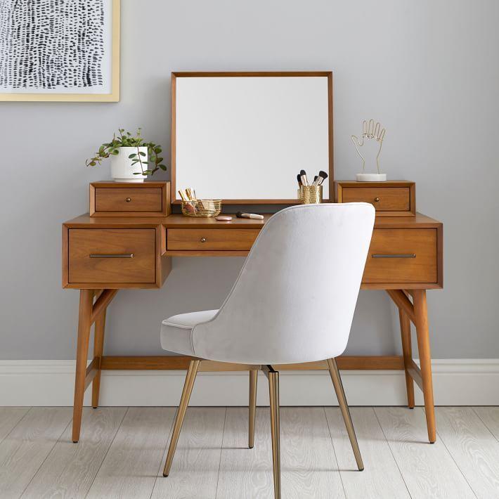 West Elm X Pbt Mid Century Vanity Desk Set In 2020 Mid Century Modern Vanity Mid Century Decor Mid Century Modern Decor