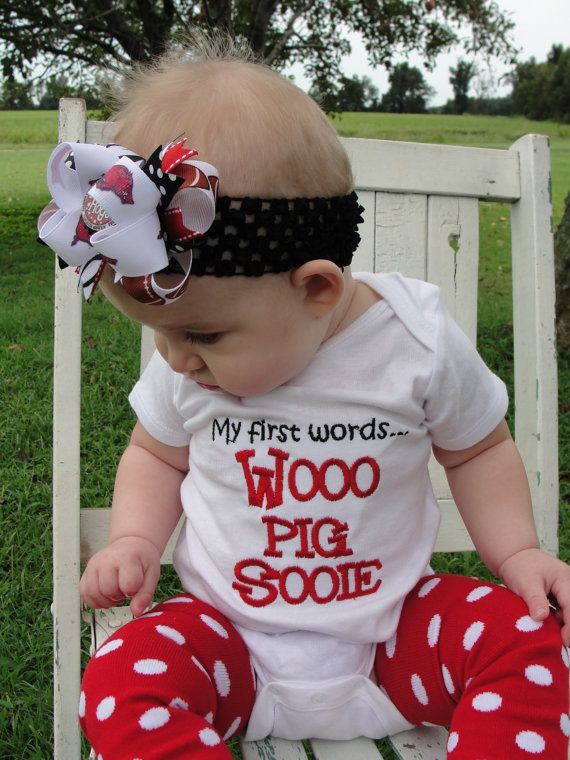 Arkansas Razorback - My 1st words Wooo Pig Sooie onesie...