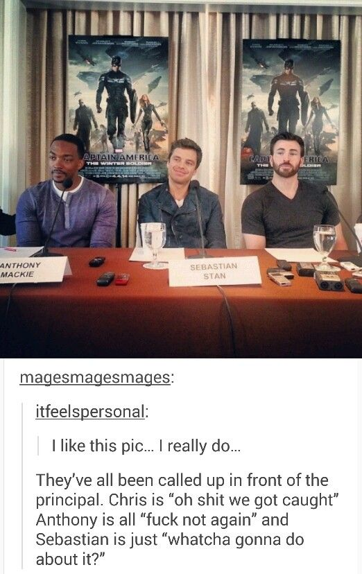 Sent to the principal's office XD #chris evans #sebastian stan #anthony mackie