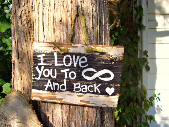 I Love You 1920s Barn Wood Sign Hand Painted Plaque Reclaimed To Infinity Symbol Rustic Country