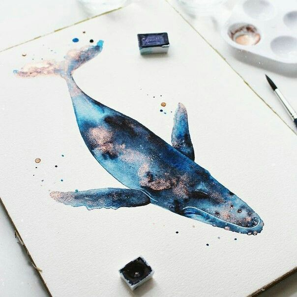 Beautiful Watercolor Water Animal Blue Whale Art Whale Art