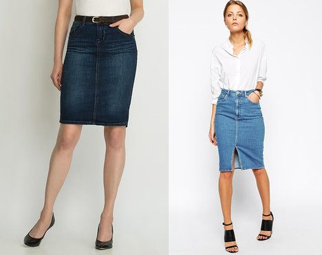 Džínová pouzdrová sukně je nutnost každého šatníku. Zvolíte raději tu s rozparkem, nebo bez? Na foto (zleva): Orsay, 799 Kč a ASOS, 1143 Kč; archiv firem