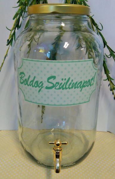 Csapos üveg, 4,2 literes - Boldog Szülinapot címkével