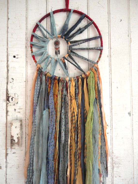 DREAMCATCHER Bohemian Silk Vintage 12 Dream Catcher by TnBCdesigns