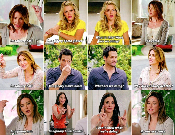 My favorite Cougar Town thing!!!!!  Imaginary hook hands!!!!!  (Ellie, I love you!)