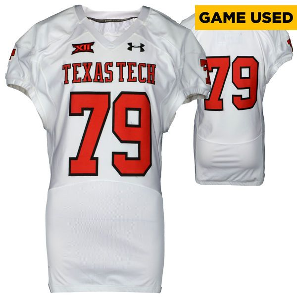 Texas Tech Red Raiders Fanatics Authentic Game-Used White #79 Jersey used during victories against the Arkansas Razorbacks and Texas Longhorns during the 2015 Season - Size 50 - $199.99