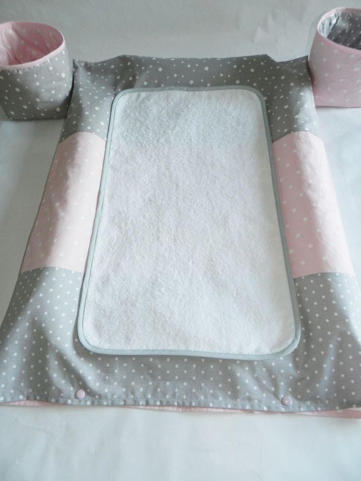 Dispo - Housse de matelas à langer rose gris : Puériculture par lesgaillardizes