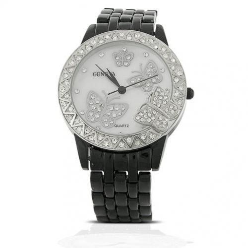 Bling Jewelry Geneva Black Enamel with Mother-of-Pearl Butterfly Watch