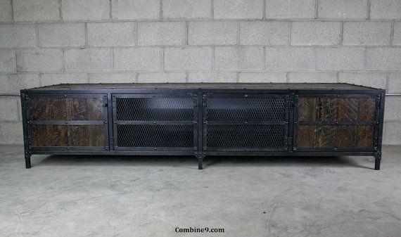 Media Console/Credenza - Urban, Modern Industrial, Vintage Industrial design. Reclaimed Wood, Steel, Loft, Sideboard, TV Stand