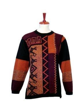 Bestickter Motiv #Damen #Pullover aus   Alpakawolle