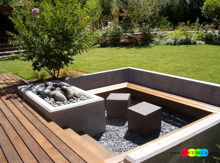 Outdoor / Gardening:Create Outdoor Lounge With Sunken Seating Area Ideas Build Conversation Pits Sunken Sitting Areas In Pool Garden Outside Cube Ottomans Add A Touch Of Contemporary Style To The Sunken Seating Along With The Firepit Elevate The Style Quotient Of Your Outdoor Lounge With Sunken Seating Area