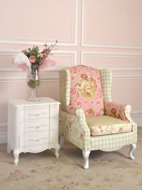 Such a terrifically pretty wing chair done up in the most splendid of pink, antique French inspired fabrics. #chair #vintage #French #shabby #chic #floral #home #decor #girly #pink