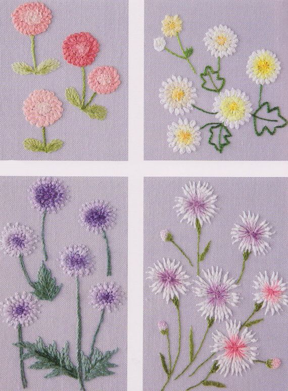 No.111 PDF Pattern of How to do Flower Hand Embroidery Vintage style sewing quilt applique patchwork gift handmade