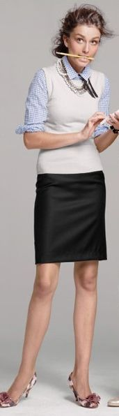 Outfit Posts: outfit post: white button down, pink shell, black pencil skirt