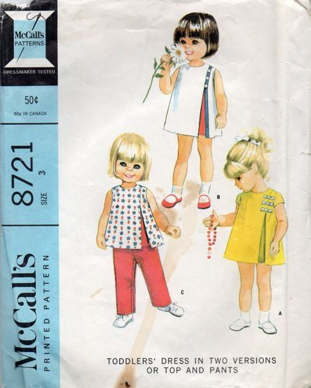 McCall's 8721; ©1967; Toddler's Dress in Two Versions or Top and Pants. Four section dress or top with inverted pleat and underlay at left front, and long pants with suspenders buttoned in place at back and front. Dress with short set-in sleeves has contrasting ribbon bows applied above front pleat. Sleeveless dress or top has contrasting pleat underlay; ribbon is applied along left side dress pleat and over seam extending to shoulder, and is trimmed with buttons. Sleeveless dress or ...