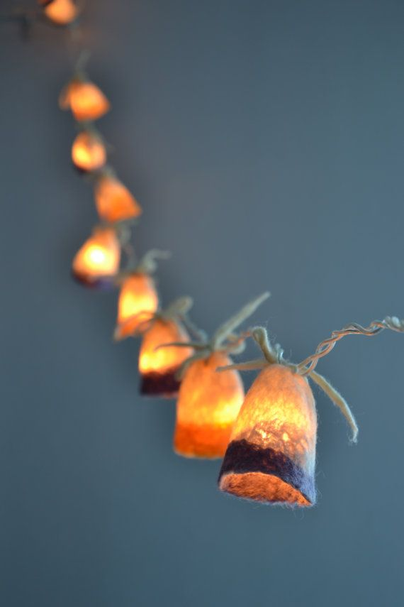 String Lights Of Garland : String Lights Children Bedroom Garland Yellow Violet Purple White Felted light Wish List ...