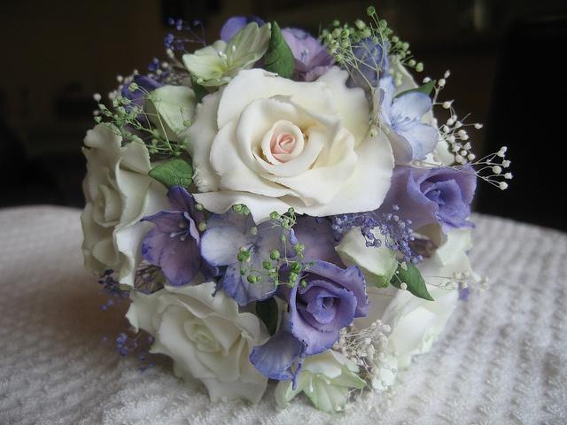 Sugar paste flowers wedding bouquet.