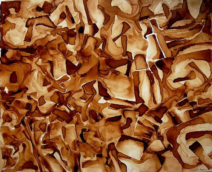 """- otra línea de trabajo IV -  serie """"mandalas de ocasión""""  título: """" trencadís """"  pigments on canvas  73 x 60 cm"""
