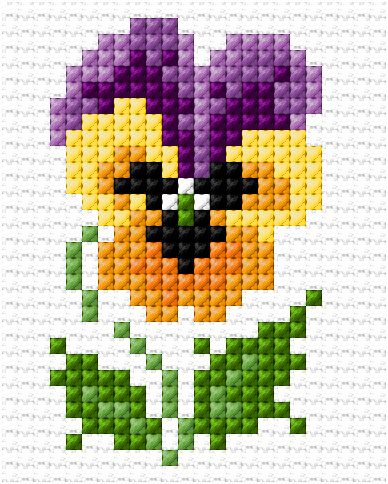 Pansy Cross Stitch Pattern