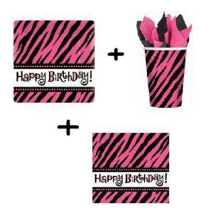 Lot 8 assiettes + 8 gobelets + 16 serviettes Oh So fabulous Zébrée Rose Anniversaire Fête Happy Birthday