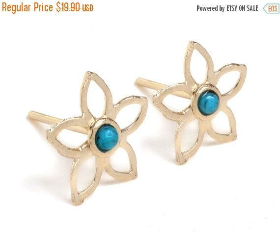 SALE Hollow Flower stud earrings inlaid with colorful Gemstones 14K Gold plated brass or sterling silver hollow flower stud earrings