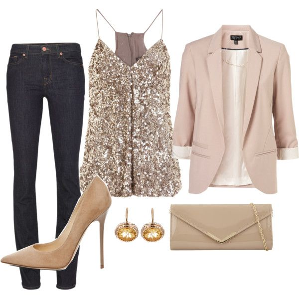evening outfit - jeans, sequins, pumps