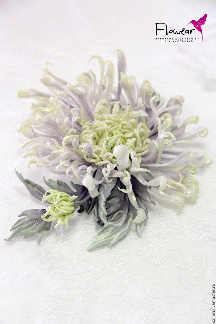 """Купить Хризантема """"Шерон"""" - шляпка-заколка-брошь-ободок. Цветы из шелка ручной работы от автора."""